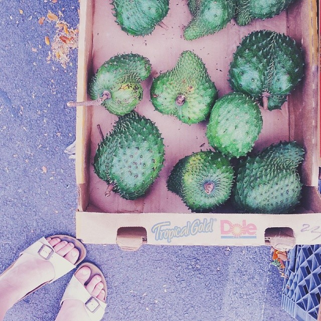 You go on morning market walks and discover new treasures like these soursop fruits.