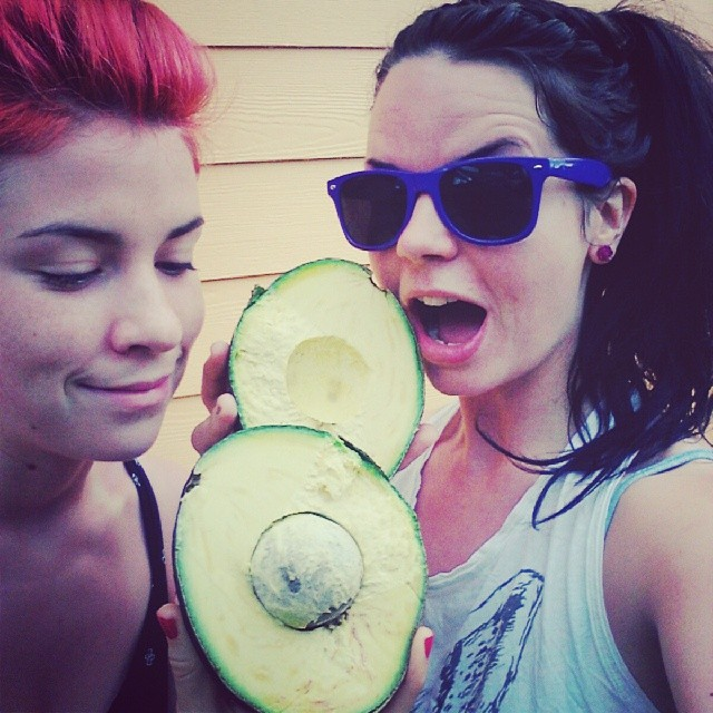 You and your sister find the biggest avocado of life. You are astonished. She is in peaceful awe. You eat it.