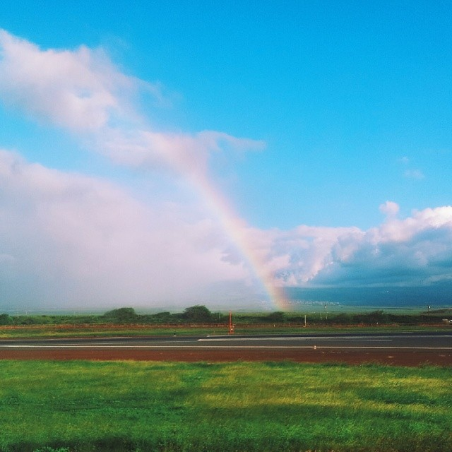 A rainbow appears because why not? You haven't had a good enough day yet, says Hawaii.