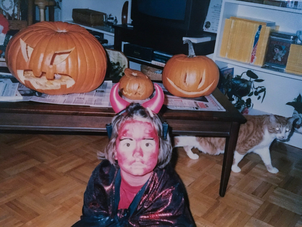 Halloween, age 6. Those eyebrows though...