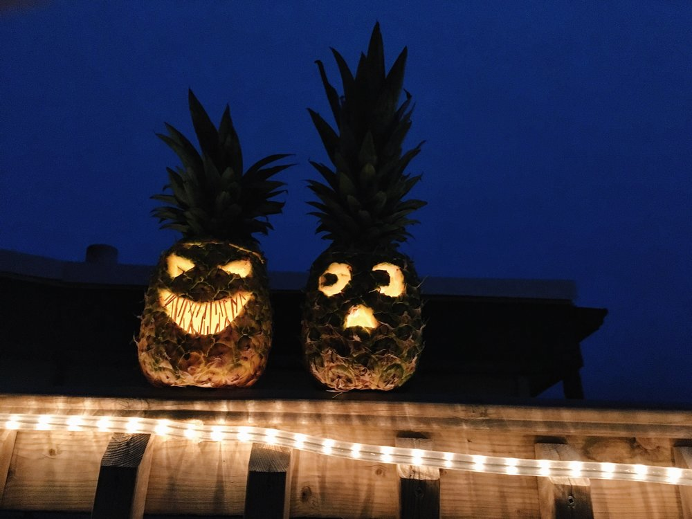 Pineapple jack-o-lanterns this year just because.