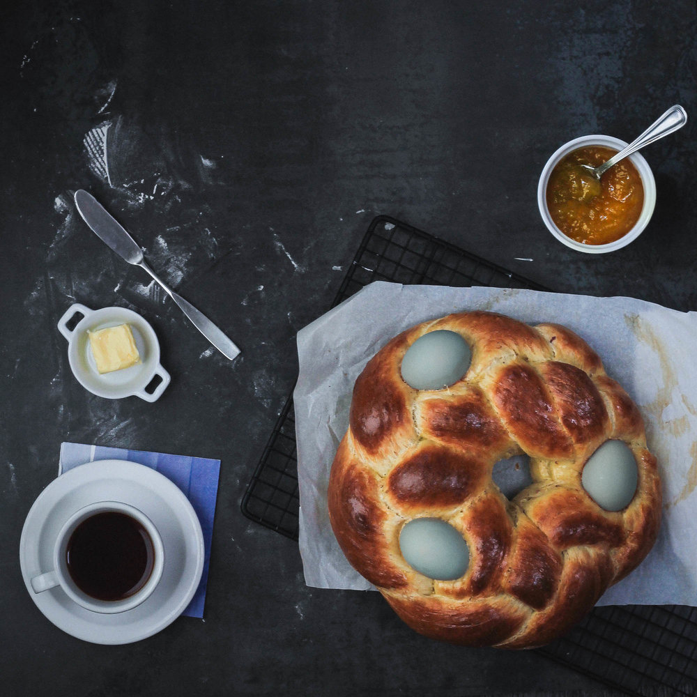 CARDAMOM + BLOOD ORANGE TSOUREKI (GREEK EASTER EGG BREAD)