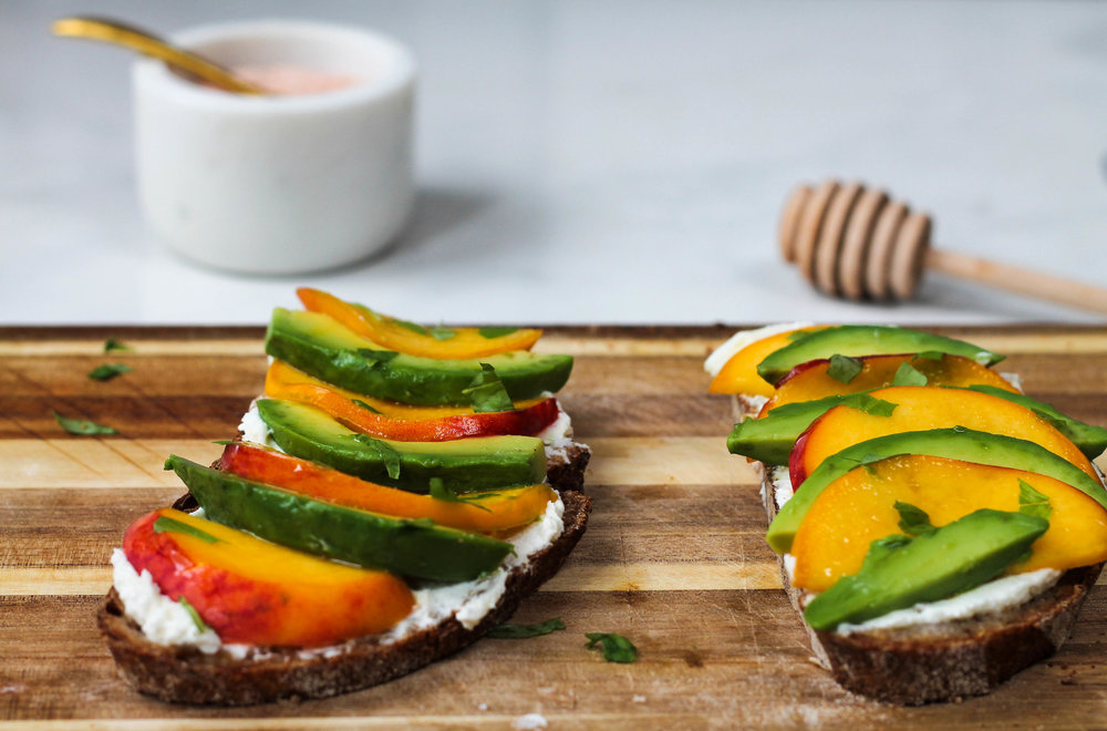 PEACH + AVOCADO TOAST W/ LEMON WHIPPED GOAT CHEESE