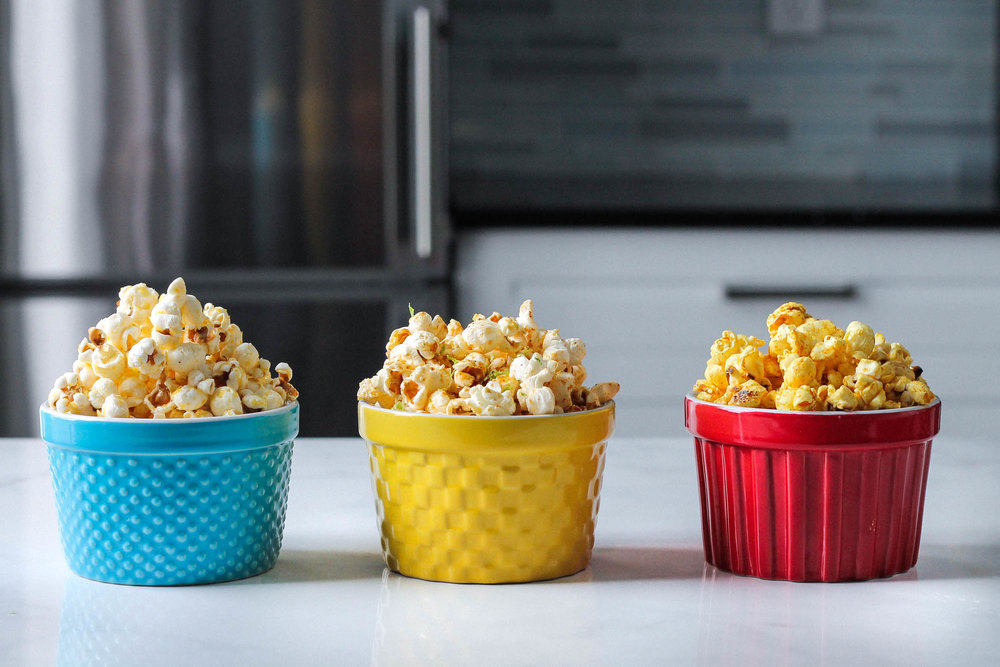 Popcorn Three Ways (Vegan) || Healthy + delicious recipes for 3 popcorn flavours without butter– classic, mexican spiced lime, and ras el hanout with salted maple. All plant based, dairy free, gluten free and easy to make! || www.creamandhoney.ca