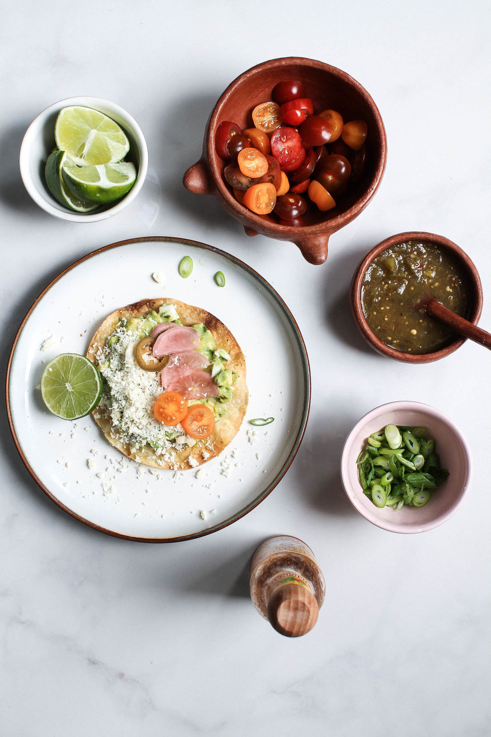 Avocado Egg Salad Tostada + Escabeche (pickled vegetables)  || A healthy and delicious meal with fresh ingredients inspired by Mexico. A perfect recipe for summer that is easy to make and can be eaten at breakfast, lunch or dinner! || creamandhoney.ca
