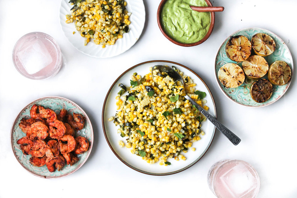 Grilled Corn + Poblano Salad with Tiger Shrimp || Delicious and healthy summer salad recipe grilled on the bbq. Perfect for parties and hot days! Gluten free + pescatarian.  || creamandhoney.ca