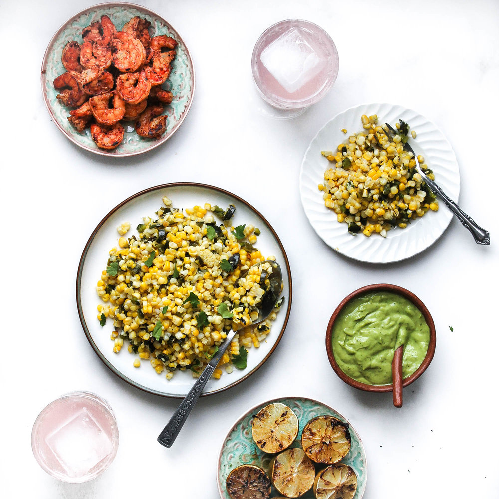 Grilled Corn + Poblano Salad with Shrimp