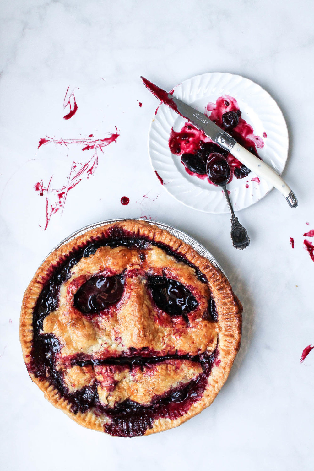 Zombie Cherry Pie + Halloween Thoughts || Spooky face cherry pie + all butter crust made from scratch || food styling + photography by creamandhoney.ca