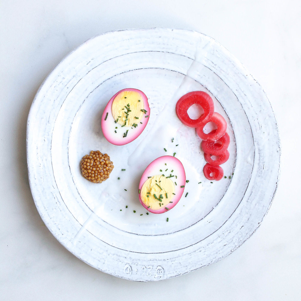 BEET PICKLED EGGS + MUSTARD CAVIAR