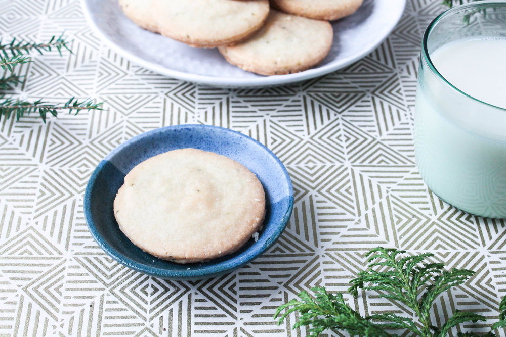 Pine Shortbread Cookies || With only five ingredients, these classic shortbread biscuits with pine are a perfect winter dessert or Christmas gift. Simple to make and can be frozen for a snack when guests drop by over the holidays. || creamandhoney.ca