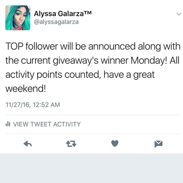 🔝♥️This weeks activity has been counted. Site will be updated Monday night EST, along with Top follower announcement and current giveaway's winner! Good luck on next week's TOP follower, the current and the next upcoming giveaway this week! Stay tuned by following @alyssagalarza @aggiveaway_assistant 💕