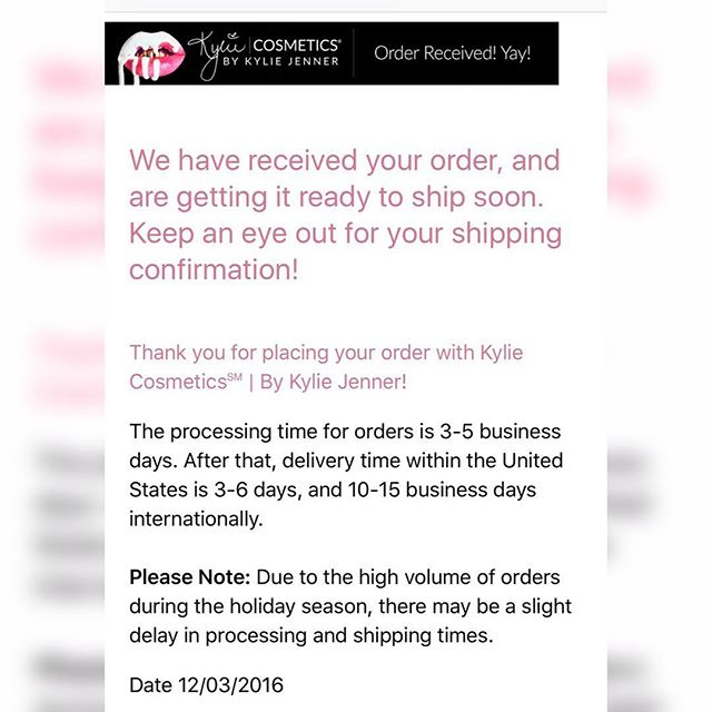 🚨 Alert Everyone awaiting packages from @kyliecosmetics this is the notice that has been sent about shipping delays. Hope they get them out soon!💄💋♥️