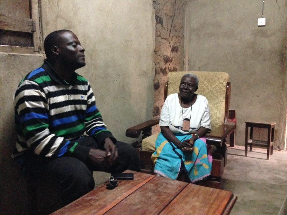 Kedmon with his mom back in his hometown Chamwino, Tanzania