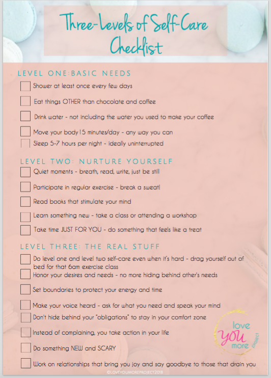 Three Levels of Self Care Checklist