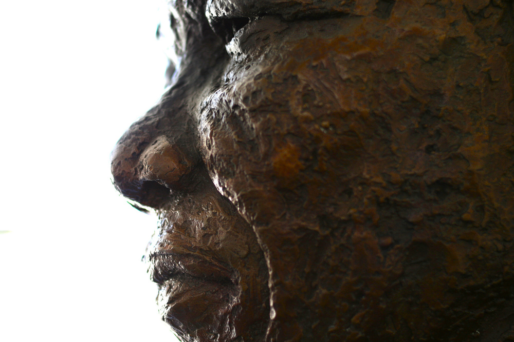 A bust of former South African president Nelson Mandela welcomes visitors to Robben Island, where he and other anti-apartheid activists spent many years as political prisoners.