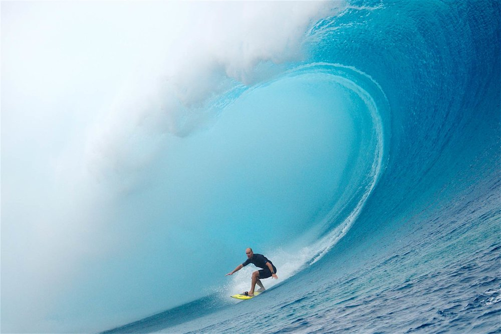 GIANT SURF: Dan Ross for Patagonia on a giant tow wave at Cloudbreak, FIJI 2018