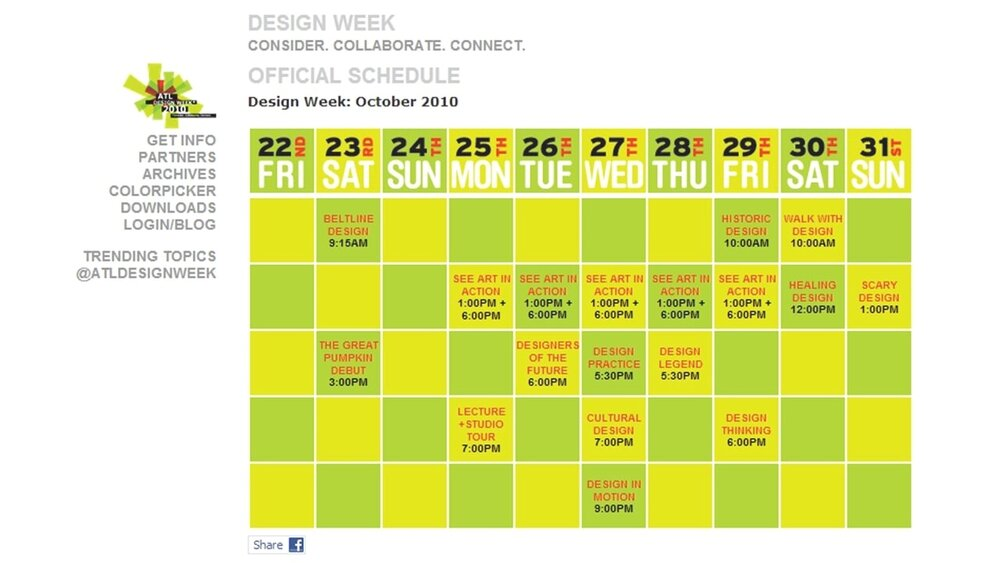 Atlanta Design Week 2010 (ADW): Brand Identity Kit and Implementation