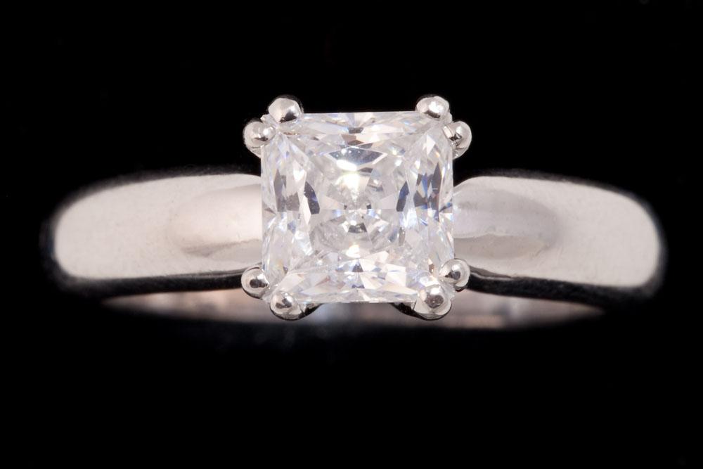 Asscher Cut Solitaire Diamond Ring