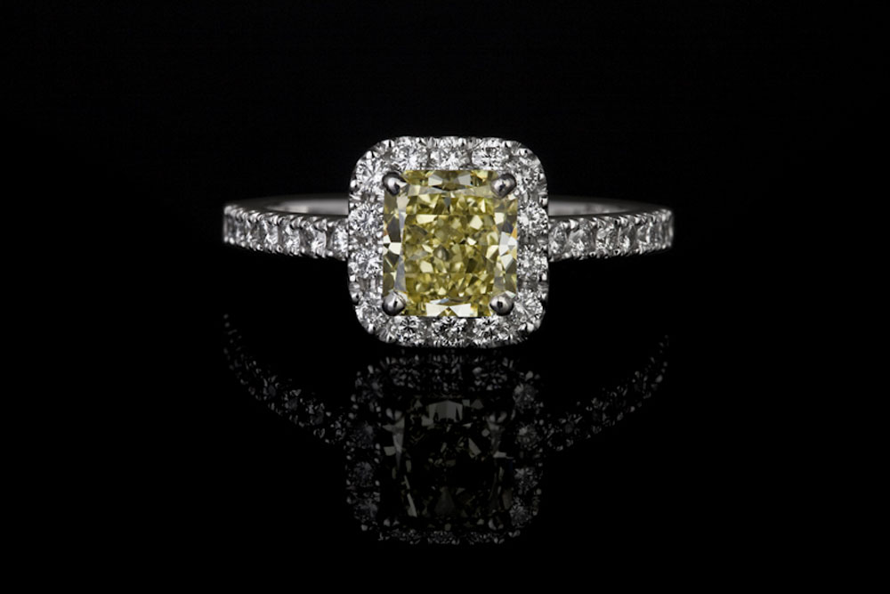 Yellow Cushion Cut Halo Diamond Ring
