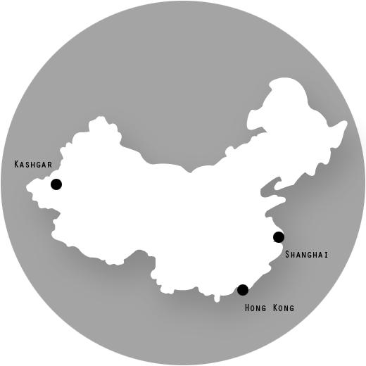 Hong Kong, Kashgar, Shanghai, Yangtze