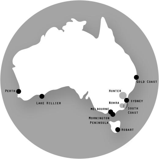 Gold Coast, Hobart, The Hunter, Lake Hillier, Melbourne, Mornington Peninsula, Nowra, Perth, Sydney, South Coast.