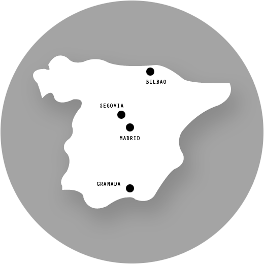 Bilbao, Granada, Madrid, Segovia