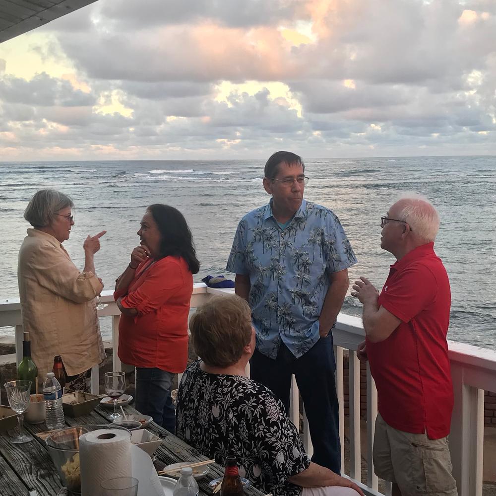 Wonderful Aloha welcome from Maureen Malanaphy with Canda Bloir, Kathleen Malanaphy, Carol Chappell (seated), Rick Thomas, and Hugh John Malanaphy