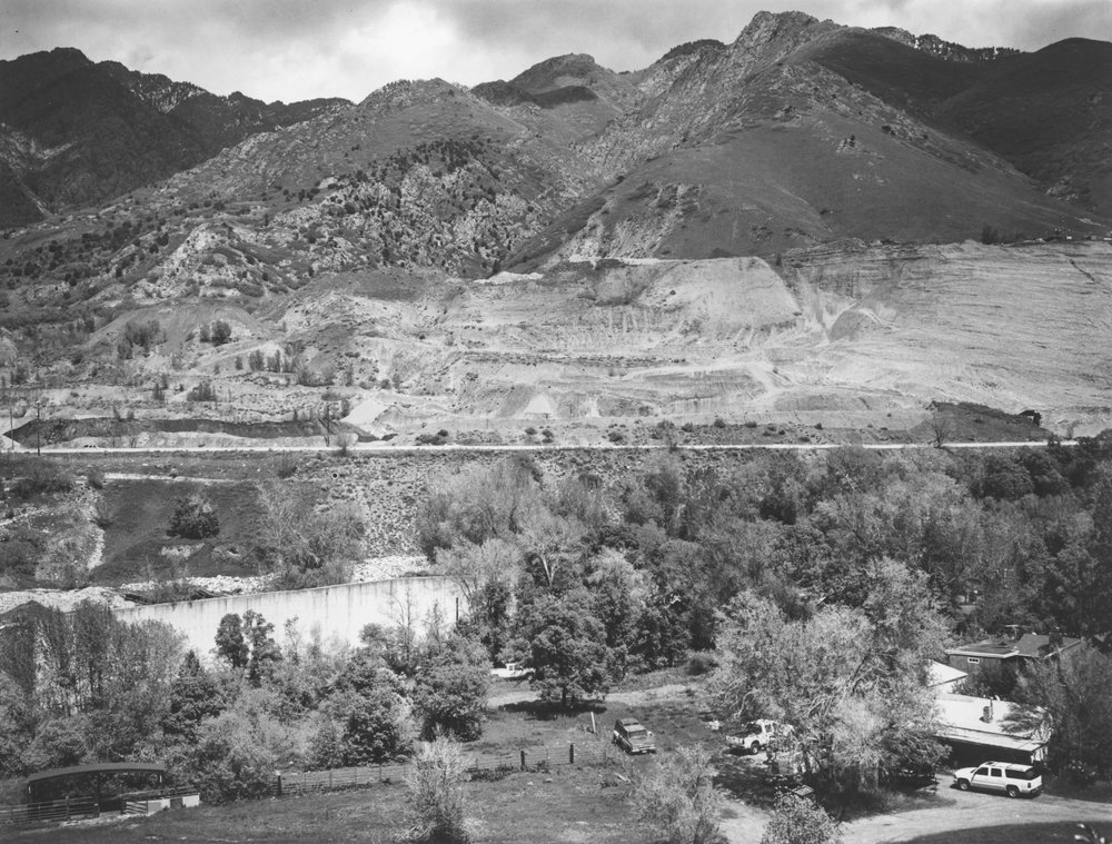 In Cottonwood Heights, Wasatch Boulevard sits below a gravel pit near the mouth of Big Cottonwood Canyon. The boulevard is parallel to the Bonneville Shoreline, the eroded edge of a massive prehistoric lake.