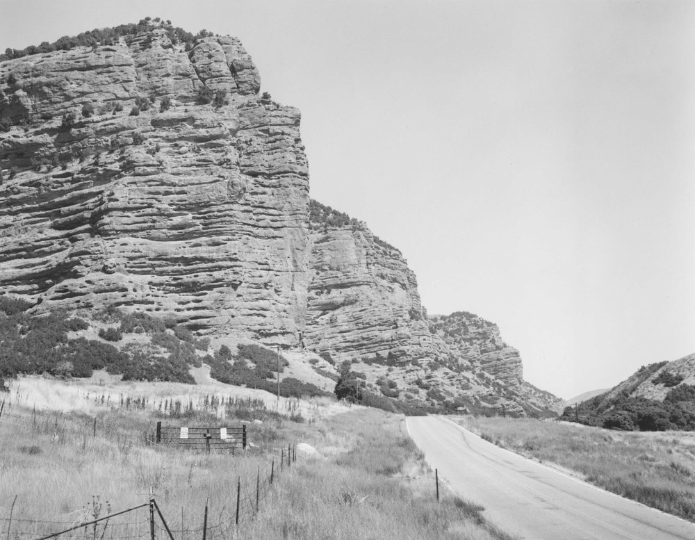 Steamboat Rock in Echo Canyon near the Wyoming border. Travelers using the Mormon Overland Trail named this formation after a steamboat bow. From 1847 to 1867, 80,000 Mormon immigrants traveled this way by wagon and handcart.