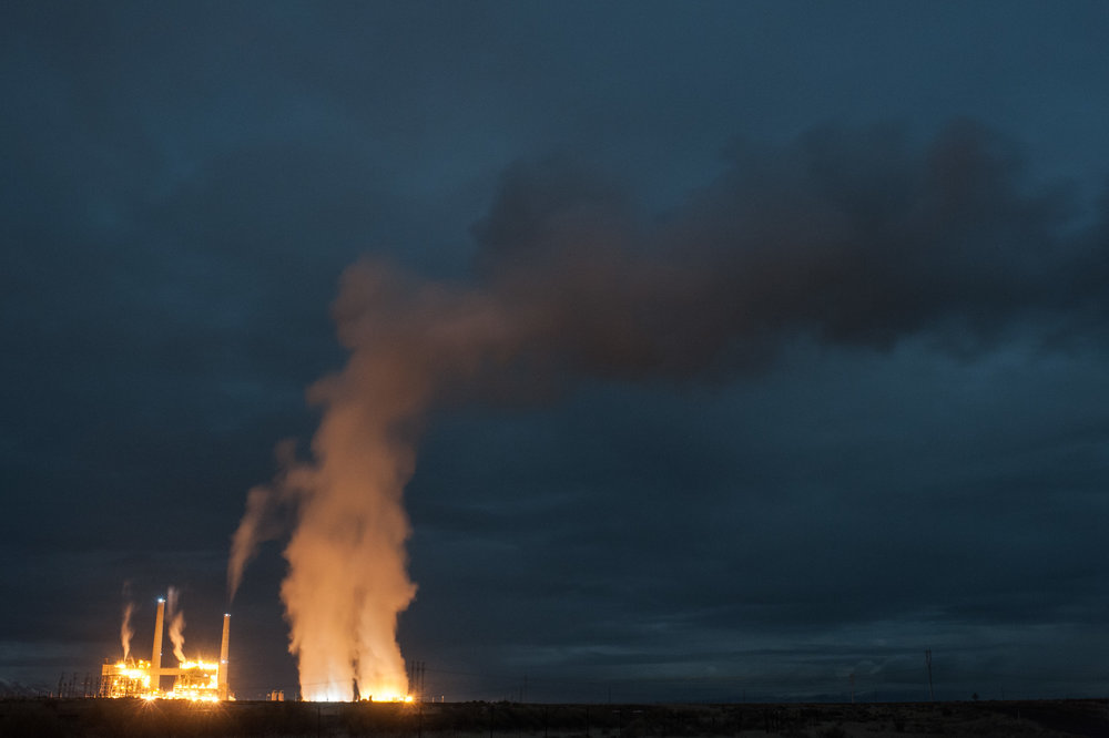 For millions of years upheavals in the earth's crust, enormous volcanoes, and a couple ice-ages have shaped this monolithic landscape.   - Steam rising from the Valmy coal fired power station in Valmy, Nevada. Great Basin.