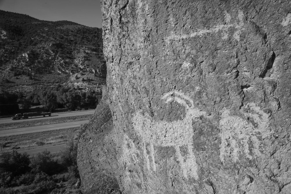 Petroglyphs along Interstate 70 in the Fremont Indian State Park, Utah.
