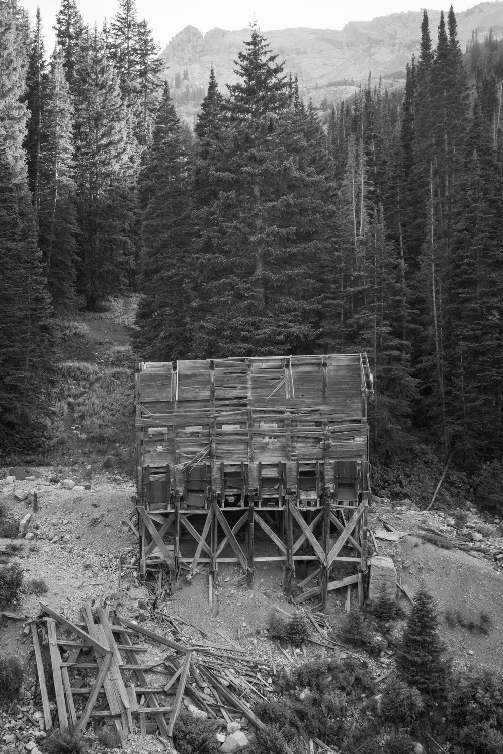 Cardiff Fork silver mine rock sorter sits above a dry creek bed. Mill D, Big Cottonwood Canyon mining district. Wasatch Range. Utah.