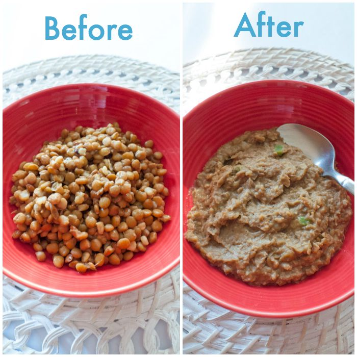 Low FODMAP refried beans made with canned lentils