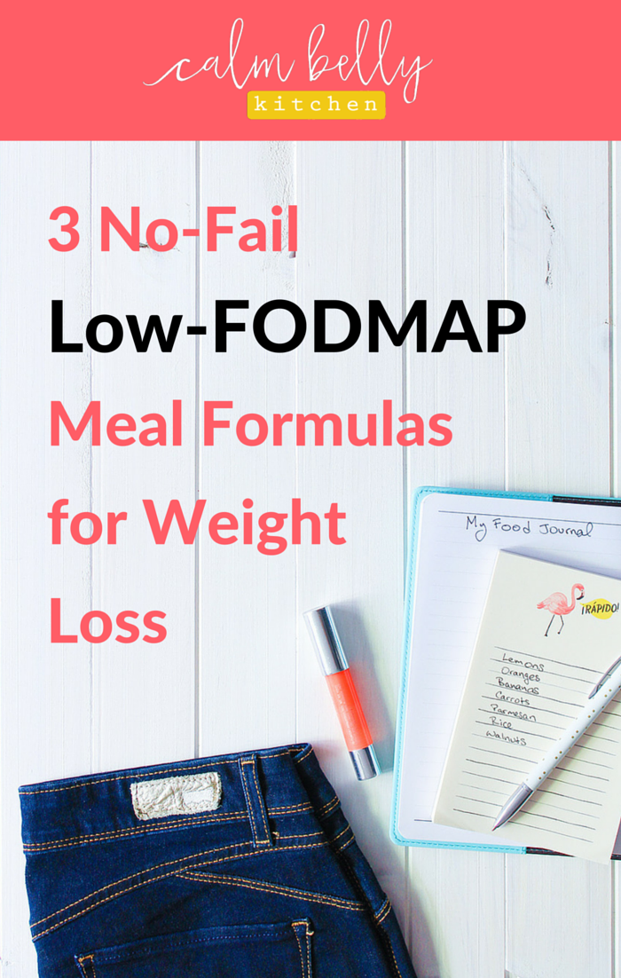 "The low fodmap diet is already crazy-complicated. But you don't need detailed custom meal plans or insane will power if you trying to lose weight AND live the fodmap life. Click through to the blog post to grab your free cheat sheet, Top 25 Low-FODMAP Foods for Weight Loss,"" and read my 3 no-fail meal formulas that you can customize so you never get bored and always feel satisfied!"