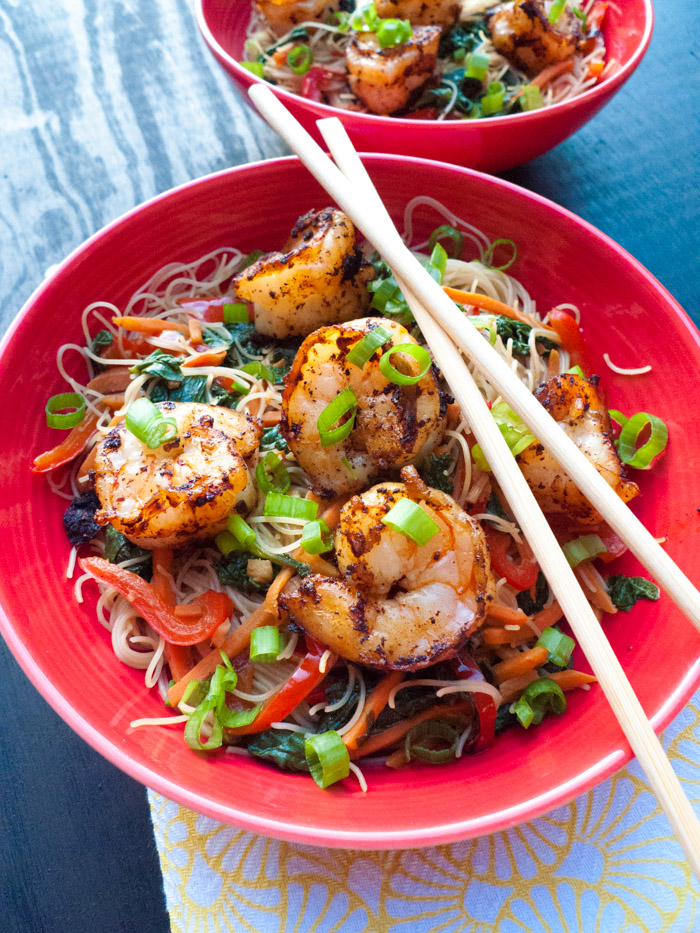 Brown Rice Noodle And Veggie Stir Fry With Shrimp Low Fodmap Gluten Free Calm Belly Kitchen