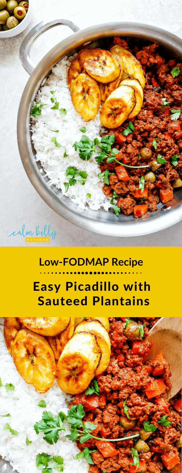 This healthy Cuban picadillo recipe is easy and flavor-packed thanks to spices, olives and raisins. Serve with a side of sauteed plantains, and you have a mouth-watering low FODMAP dinner! #calmbellykitchen #ibs #fodmap