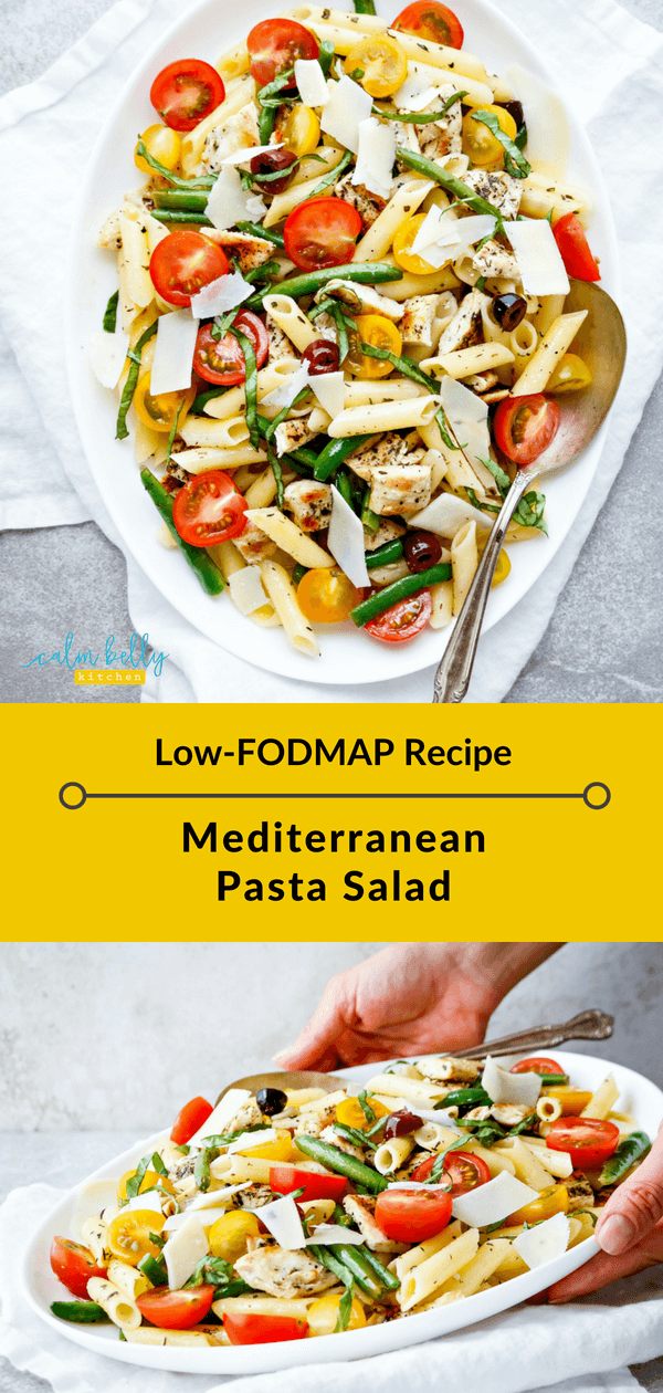 This low FODMAP pasta salad will be your new go-to recipe. It can be made ahead, plus it's fresh, summery, and perfect for get-togethers. #calmbellykitchen