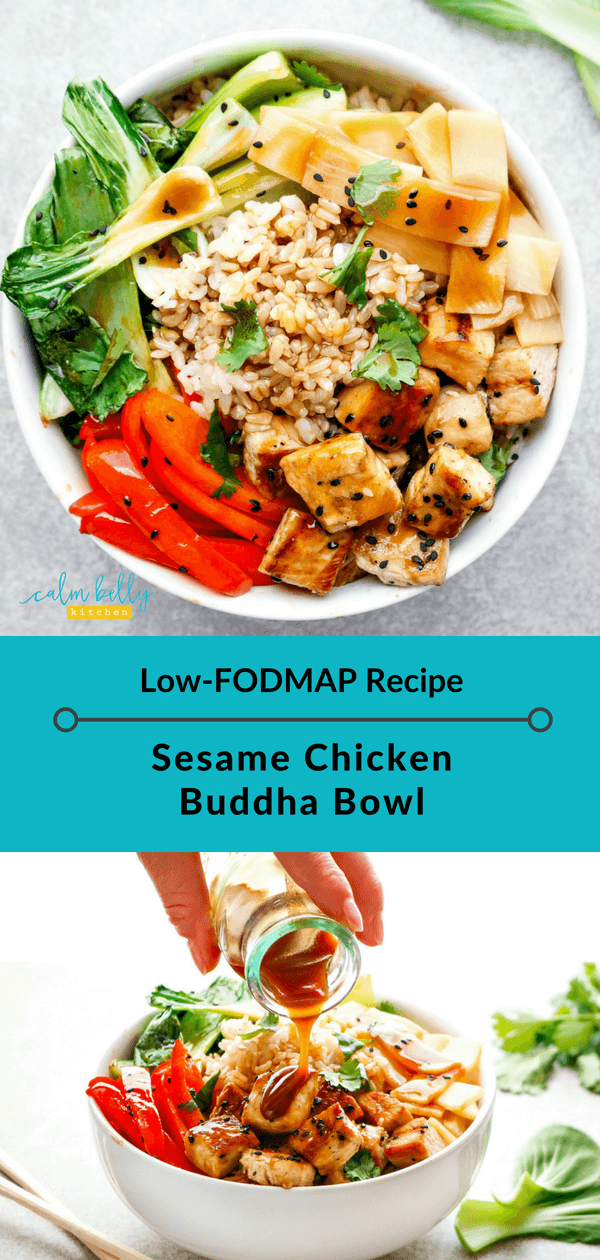 Thought a low FODMAP Buddha Bowl was impossible? Not so! This IBS-friendly recipe is hearty, colorful, and packed with nutrients...and you'll love the sticky sesame sauce. Time to hop on the trend with this sesame chicken Buddha Bowl! #calmbellykitchen