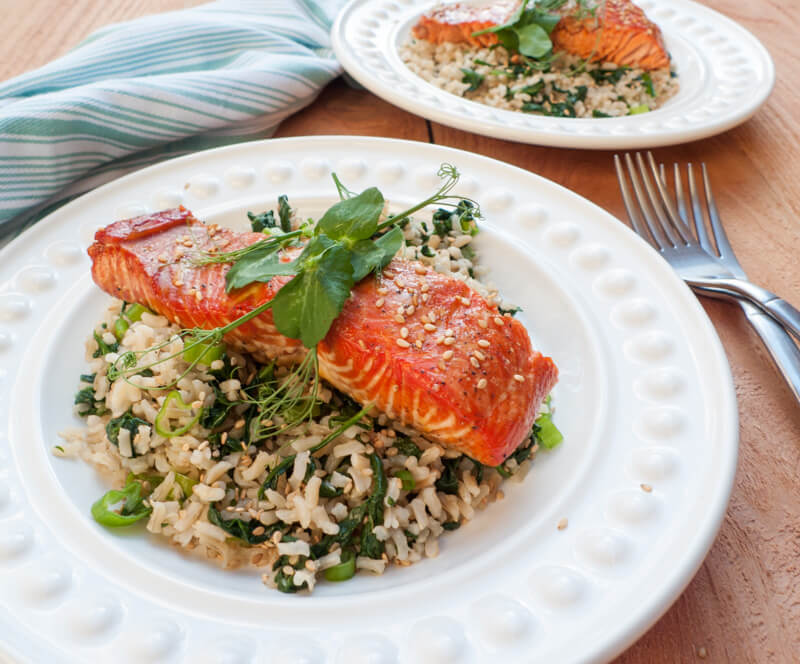 This elegant maple-marinated salmon with spinach-sesame rice is delicious AND healthy!