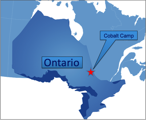 Location of the Smith Cobalt Project in Cobalt, Ontario, Canada on the border to Quebec, approximately   420 km north of Toronto or 370 KM NORTH-WEST OF OTTAWA.