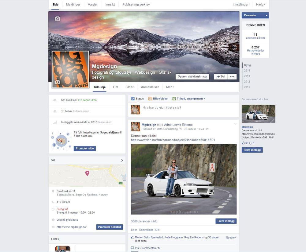 Sånn profilerer me oss på facebook, me deler kundeannonser og promoterer lokalt.