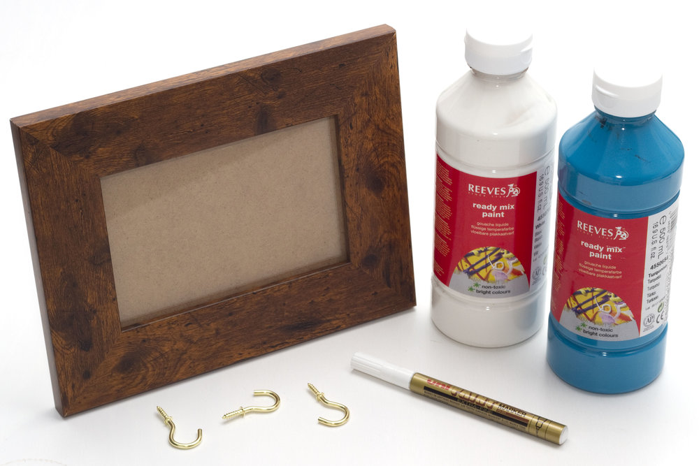What you need:  Photo frame Paint Screw cup hooks Metallic paint marker