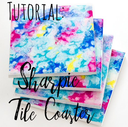 Colourful Sharpie Tile Coaster Craft Doodle And Stitch