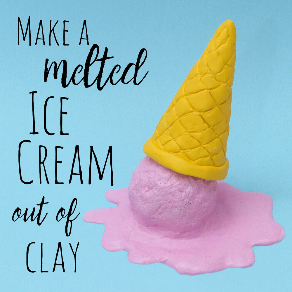 Learn how to make a melted ice cream out of air dry clay. This ice cream craft is fun for kids of any age and is simple to make!