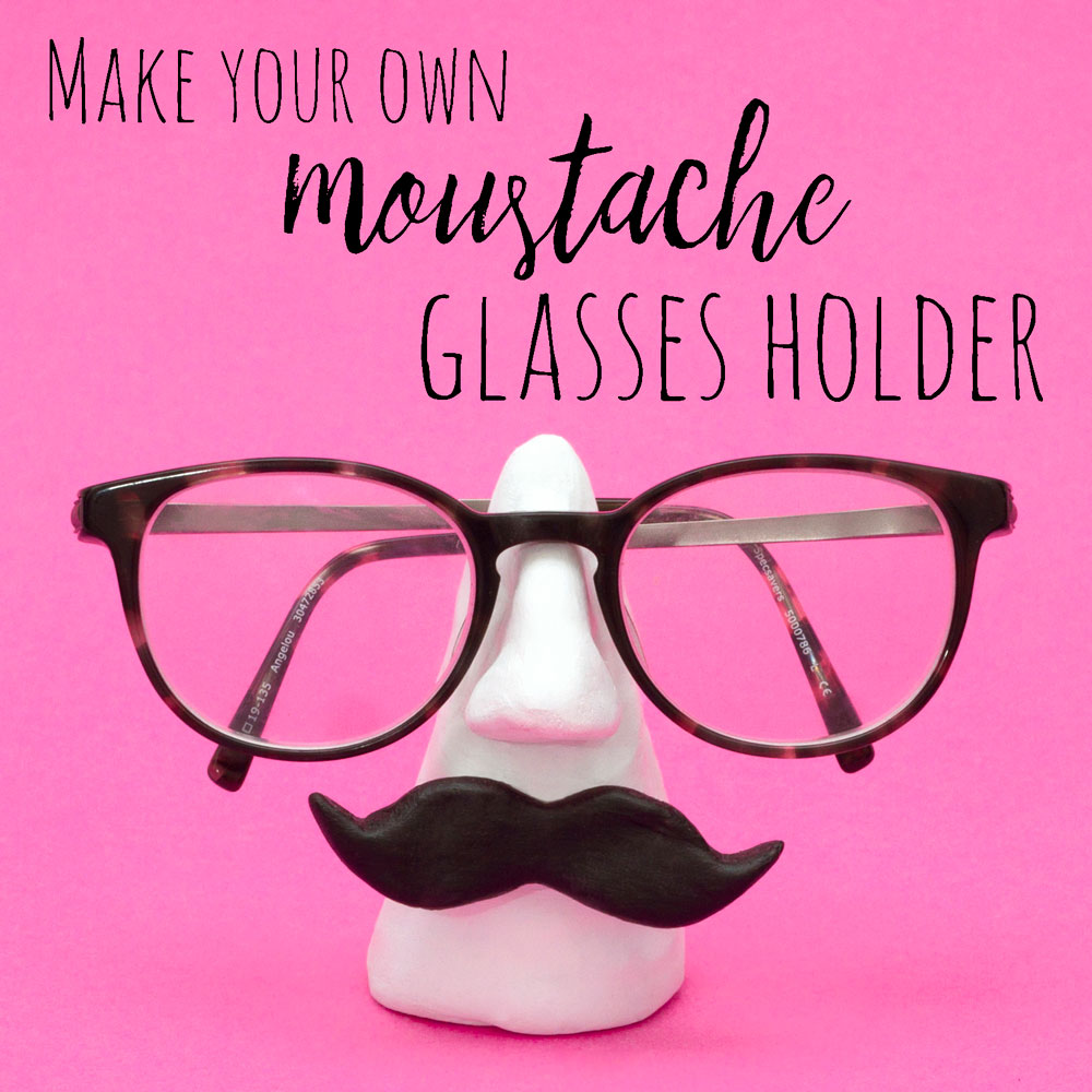 Craft your own moustache glasses holder out of air dry clay for a cool place to keep your glasses when you're not using them!