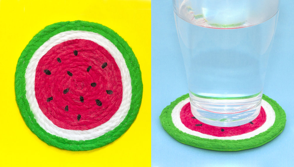 Your fruity drinks coaster is finished! Click here to watch a video of this coaster being made. Subscribe to my newsletter to receive fun craft ideas weekly!