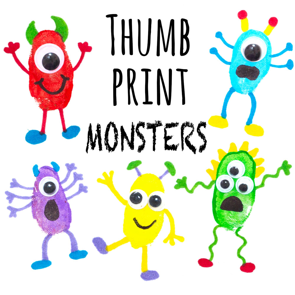 These monster fingerprint pictures are a great and fun craft to do with your child! Create lots of different funny monsters and you could even use them to make greetings cards.