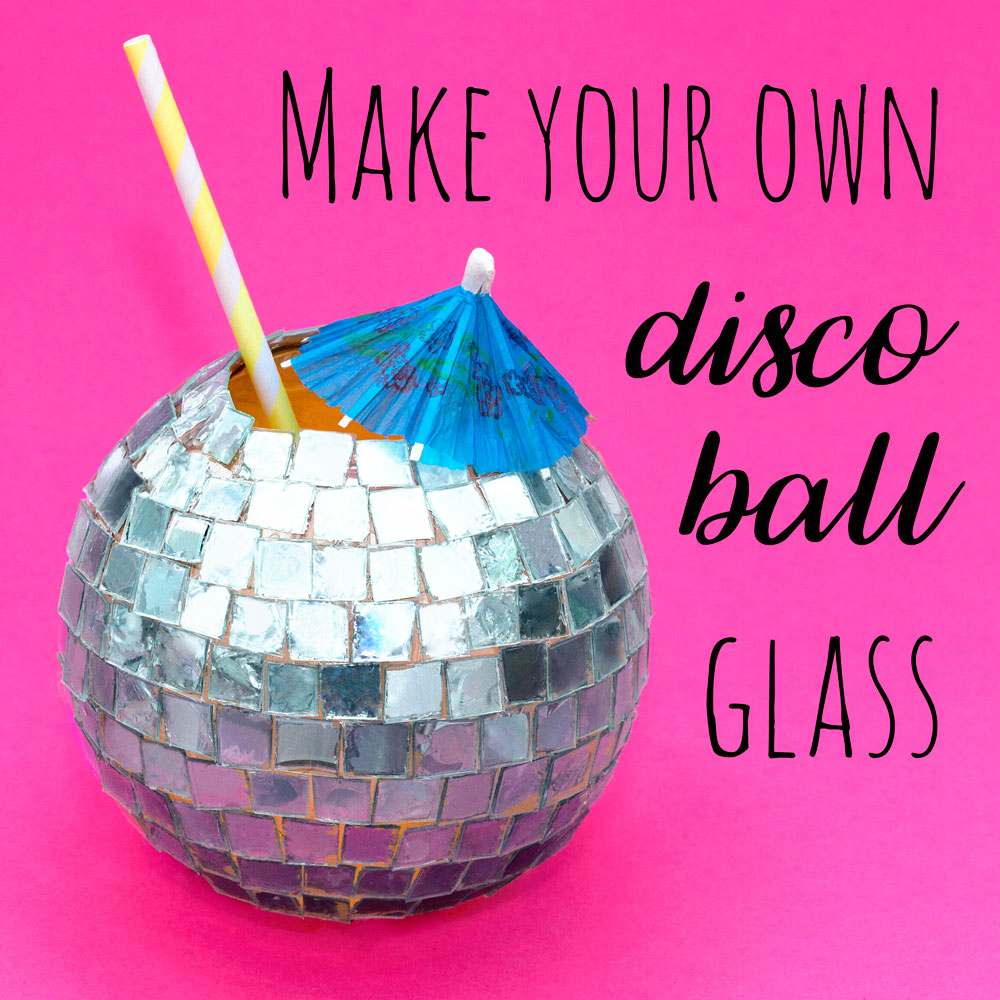 Learn how to make a disco ball drinks glass out of old CDs! This is a great DIY idea for parties. You could even use this disco ball craft as a plant pot or a bowl to keep your jewellery! Pin the image above to save the idea for later.