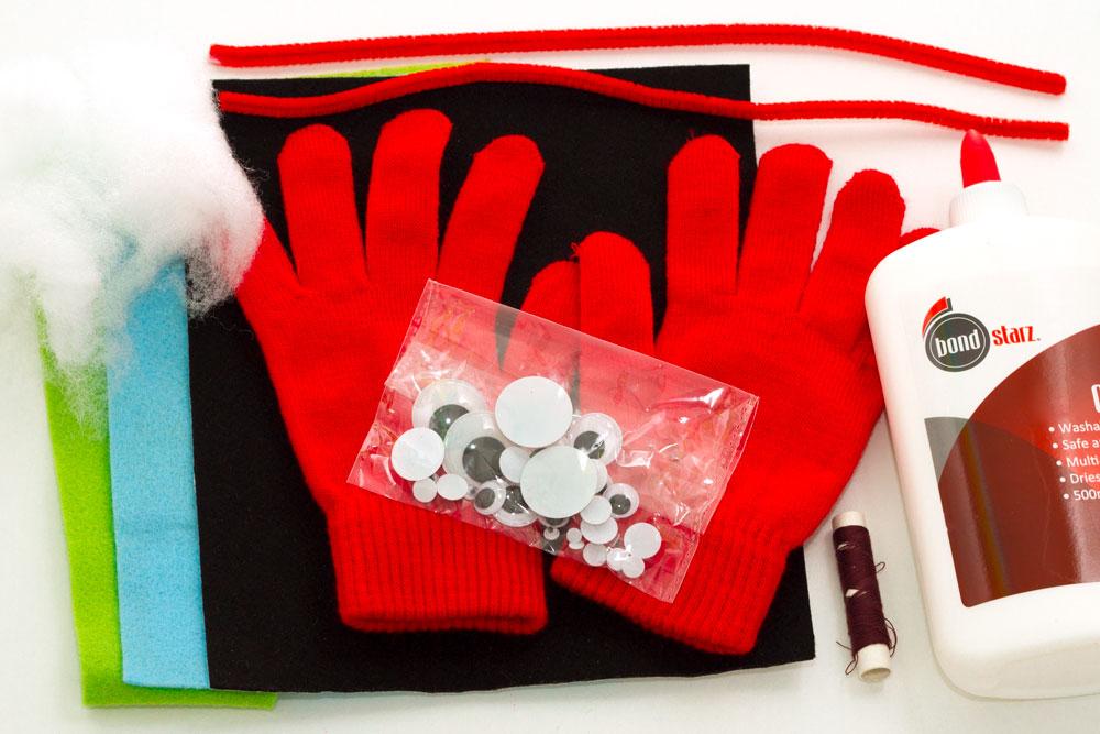You will need: Gloves Stuffing Felt Fabric glue (or PVA should be fine) Thread Needle Googly eyes Pipe cleaners (optional) Scissors