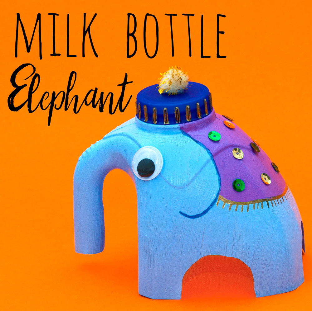 Make a cute Indian elephant by recycling your milk bottle! Kids will love creating their own elephant and decorating it with sequins.